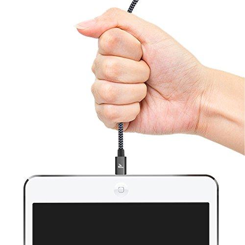 Câble iPhone [MFI certifié Apple] Rampow® Câble Lightning vers USB en Fibre de Nylon Tressé - GARANTIE À VIE - Chargeur iPhone avec Connecteur Ultra Résistant en Aluminium pour iPhone 7 / 7 Plus / SE / 6s / 6s Plus / 6 / 6 Plus / 5C / 5S / 5, iPad Pro, Air, iPad mini et Des Autres - 1M Gris Sidéral [Nouvelle version]