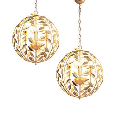 Gold Leaf 8 Licht (Creative Iron Leaf Ball Pendelleuchte E14 x 3 Moderne Deckenleuchte Kronleuchter Design für Kissen Restaurants Lounges Coffee Shops Durchmesser 46 cm Gold)