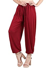 Jollify Solid Cotton lycra Maroon Harem Pants