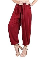 Myshka Womens Maroon Solid Cotton Lycra Harem Pants_HM07Maroon-Free