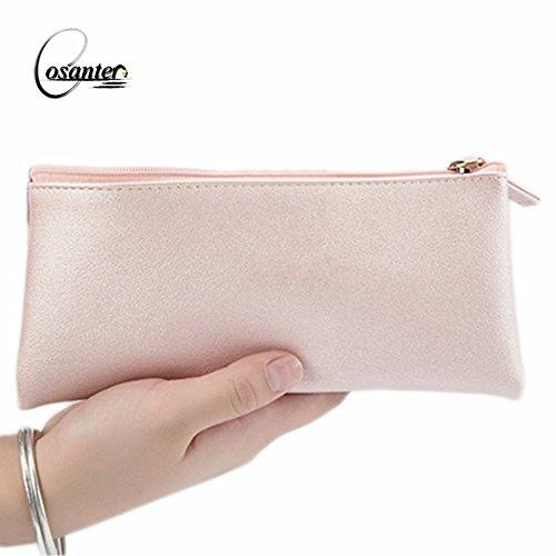 Cosanter Stifte Tasche Rosa Kunstleder Mäppchen Federmäppchen Kosmetiktasche für Frauen Dame 19X8cm