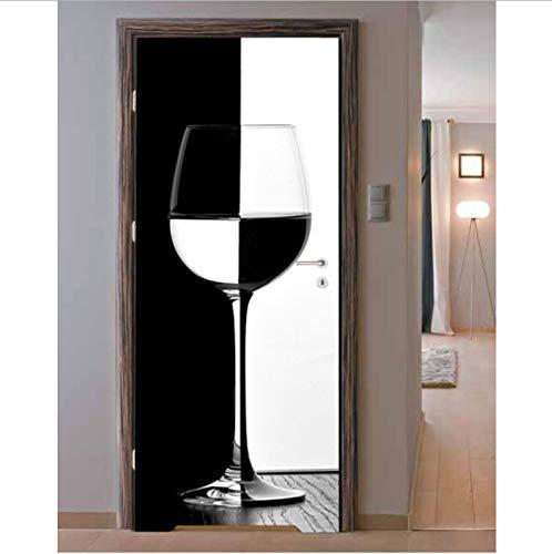 Haipeiy Türaufkleber 3D Schwarz Weiß Weinglas Wandkunst Tür Wandbild Tapete Wandaufkleber...
