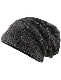 Envoi gratuit Kobay Hommes Épaissir Chaud Bonnet tricoté Crochet Hiver  Tricot Crâne Slouchy ... 01259bf7d58