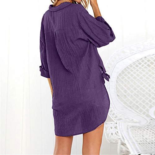 SHE.White Neu Damen Casual Langer Abschnitt Bluse Elegant Große Größe Solide V-Ausschnitt Unregelmäßige Vintage Lässige T-Shirt Tuniken in vielen verschiedenen Größen und Farben M-5XL -