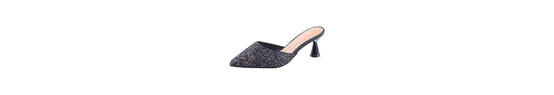 KPHY Zapatos de Mujer/Baotou Semi - Zapatillas Zapatillas De Verano de 6 Cm De Tacon Alto Aspero Y Moda Cool Arrastrar... -