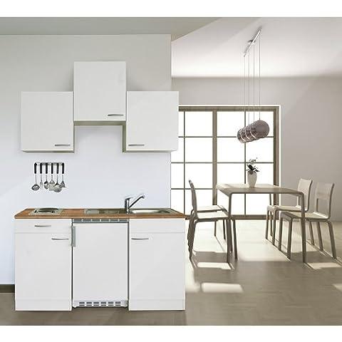 respekta KB150WW Single Küche Küchenzeile Küchenblock 150 cm WEISS mit Einbaukühlschrank, Einbauspüle,