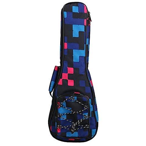 Yibuy 21 Inch Waterproof Ukulele Multicolor Plaid Pattern Guitar Shoulder Bag Backpack Adjustable Belts & Thickened Cotton