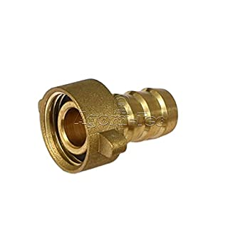 Agora-Tec® Brass Hose Nozzle 1/2 Inch (12.7 mm) to 1/2 Inch Female Thread (18.7 mm) Industrial quality with Flat Seal for 1/2 Inch Garden Hose with an Inner Diameter of 12.7 mm