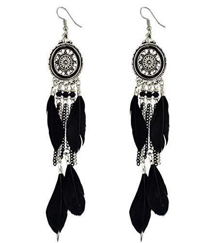 Rmengez orecchino orecchini pendenti con piume vintage per donna orecchini in boemia orecchini pendenti con nappa di gioielli indiani etnici da donna