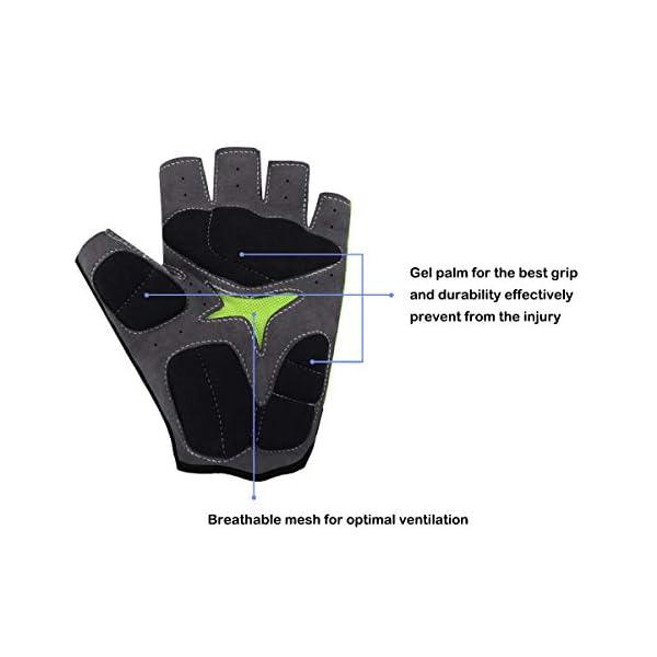 ideale come regalo per sport allaria aperta antiscivolo Guanti da ciclismo per bambini e ragazzi con mezze dita traspirante e traspirante con protezione UV imbottita