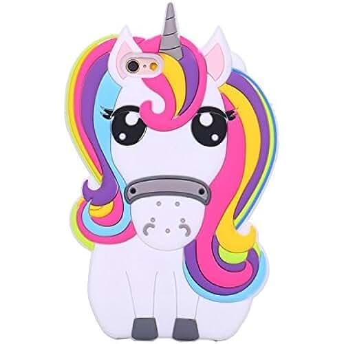 unicornios kawaii eHenZ® TM carcasa diseño unicornio 3D, funda carcasa para iPad 2,3,4; iPhone 7,7+, 6,6+, 5... Arco iris Cute iPhone 6+