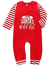 ba8cd7dcb14 Mini honey Newborn Toddle Baby Girl Boy Christmas Romper Long Sleeve  Bodysuit Pajamas Outfit (0