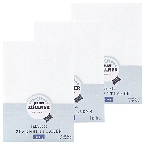 Zöllner Spannbetttuch Jersey 70x140 / 60x120 Weiss 3er Pack