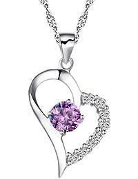 Chaomingzhen Lila rhodiniert Halbzeit Zirkonia Sterling Silber Herz Anhänger Halskette Damen Kette