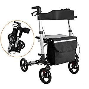 wolketon rollator faltbar und leicht Gehwagen mit sitz abnehmbare Einkaufstasche Leichtgewichtsrollator mit Sicherheitsreflektoren bis 130kg
