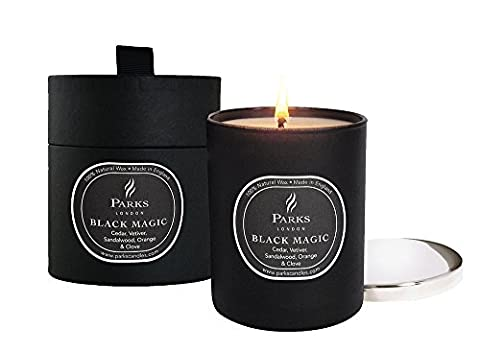 Parks Black Magic Natural Wax Candle In Black Glass with Nickel Silver Lid In Giftbox, Cedar, Vetiver, Patchouli, Sandalwood, Orange & Clove, 235g