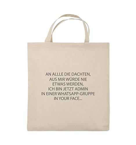 Comedy Bags - ADMIN WHATSAPP GRUPPE - Jutebeutel - kurze Henkel - 38x42cm - Farbe: Schwarz / Silber Natural / Grau