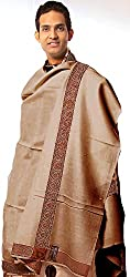 Exotic India Plain Mens Shawl with Brown Woven Border - Color KhakiColor Free Size