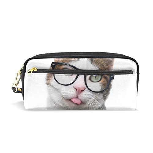 Federmäppchen mit Reißverschluss, groß, Make-up-Tasche, lustige Katze in Nerd-Brille, für Jungen und Mädchen, Schulbedarf