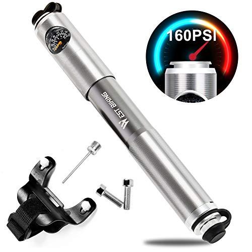 Mini Fahrradpumpe 160PSI / 14.5Bar Luftpumpe – hoher Druck - zuverlässig, kompakt & leichte Rahmenpumpe aus Aluminium – kompatibel mit Presta & Schrader Ventil - Beste Qualität & Leistung - Fahrradp