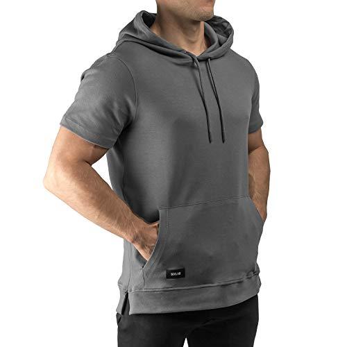 Premium Basic Zip (Sixlab Short Sleeve Kurzärmeliger Hoodie Kurzarm Kapuzenpullover Gym Fitness (XL, Dunkelgrau))