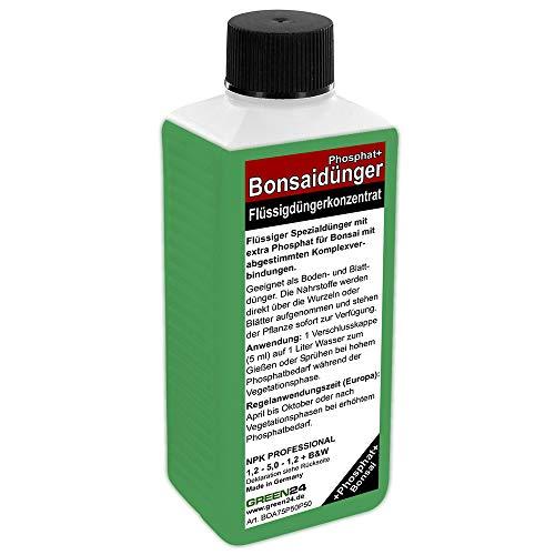 GREEN24 Bonsai-Dünger NPK Phosphat+ HIGHTECH Dünger zum düngen von Bonsai Pflanzen, Premium Flüssigdünger aus der Profi Linie