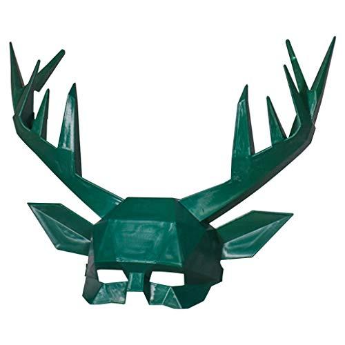 Kostüm Springen Herren - HKFV Kustischen Sensoren Geweihmaske Super Weicher Schaum Tintenmaterialien Maske für Performances, Halloween Kostüm Party Fasching und Festivals