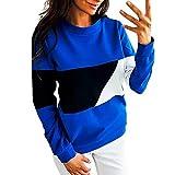 Sonnena Damen Patchwork Farbblock Sweatshirt Frauen Langarm Rundhalsausschnitt Sport Pullover Basic Schlank Bluse Tops Sweatjacke