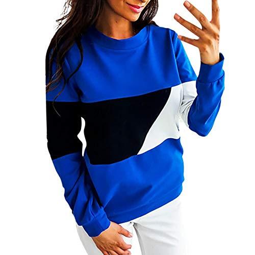 iHENGH Sweatshirt Damen,Women Herbst Winter Lässige Farbblock Lange Ärmel Pullovers Sweatshirt Bluse Tops Clearance Sale(Dunkelblau,EU-34/CN-S)