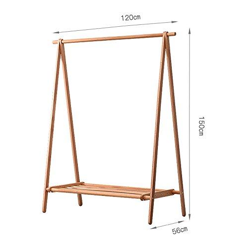 Xiaolin Cintres Type de Plancher de Chambre à Coucher en Bois Solide Porte-Manteau Moderne Usage à la Maison Simple Pliant vêtements Rack en Bois Massif Taille facultative (Taille : 120 * 56 * 150cm)