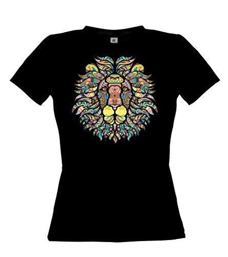 Ethno Designs Streetwear - Mosaic Lion - Lion T-Shirt pour Femmes - Loisirs et Fête Shirt - slim fit Noir