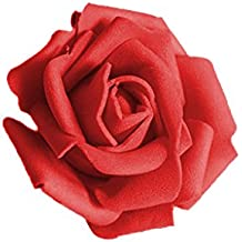Lot 50pcs Fleurs Mousse Rose Artificielle Tête Mariée Bouquet Décoration Mariage Partie - Rouge, 6-7cmx 3.5cm