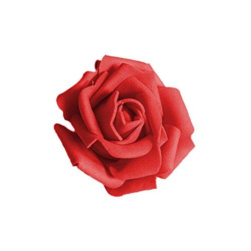 Künstliche Rosenblüten aus Schaumstoff, für Brautstrauß oder als Dekoration für Hochzeiten, Partys oder Zuhause, 50 Stück, Pink rot