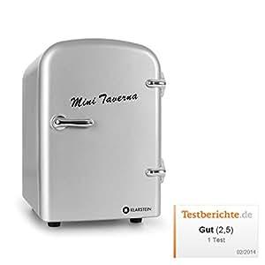 Klarstein Bella Taverna minifrigo freddo/caldo (4litri, refrigerazione e mantenimento calore, design anni '50, ripiano estraibile, alimentazione corrente e presa accendisigari, trasportabile) - argento