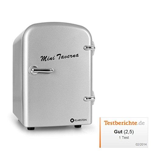 Klarstein • Mini Taverna • Mini-Kühlschrank • Kühl- und Warmhaltebox • 4 Liter • 42 Watt • 12 Volt Kabel • 50er Jahre Design • Tragegriff • herausnehmbarer Einschub • sicherer Türverschluss • Lüfter • Standfüße • leise • leicht zu reinigen • ca. 2,0 kg • silber