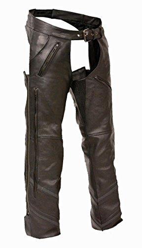 Milwaukee da Uomo Moto Riflettente ventilata Chap Pantaloni da Equitazione in Pelle Morbida Nero New Regular