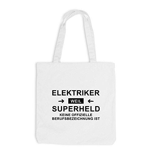 Borsa Di Juta - Supereroe Elettricista - Eroe Professione Bianco