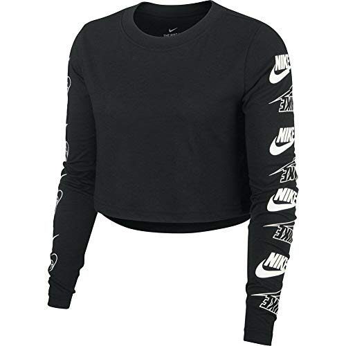 Nike W NSW Tee LS Futura Flip Crop Long Sleeve Top, Donna, Donna, BV7147 010, Nero/Bianco, XS