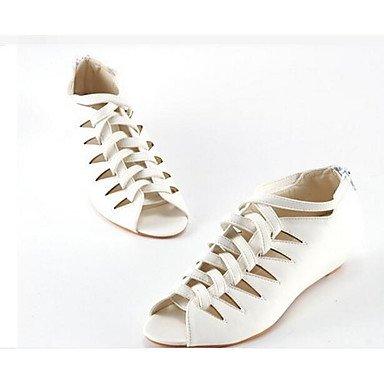 SANMULYH Scarpe Donna Pu Primavera Estate Comfort Sandali Di Abbigliamento Casual Bianco Nero Rosa Mandorla Bianco