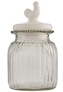 6GL1264M Clayre & Eef - Bocal en verre avec couvercle - Vase / conteniteur - transparent - Coq ca. 14 x 26 cm