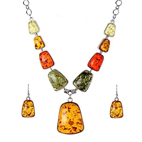 YAZILIND Frauen Silber überzogene orange Bernstein Bib-Kragen-Halskette Haken Ohrringe Schmuck Sets