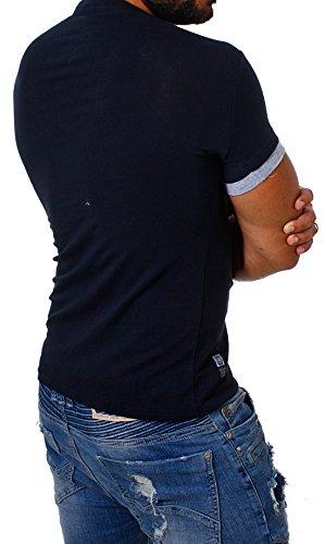CARISMA Herren double Look T-Shirt deep v-neck tiefer V-Ausschnitt slim fit Kontrast Optik tee Blau