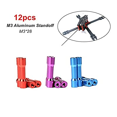 DroneAcc 12pcs M3*28 Aluminum Column FPV RC Drone Frame Kit Spacer for FPV Racing Drone Quadcopter
