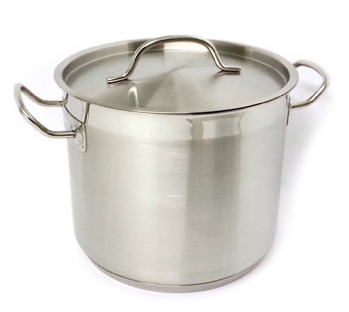 Suprem inox Linea VIP Professional Kitchen / Chef Quality Stainless Steel Stock Pot / Stew Pan With Lid. Large Size 22x18cm - Specialised Cookware - Gas / Electric / Induction Ready - Model No. 4222/5