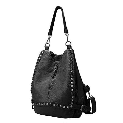 rivetto borsa a spalla donna/Soft lavato borsa in pelle/Borsa da viaggio-A B