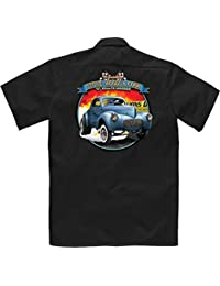 Velocitee Long Sleeve Mens T-Shirt Hot Rod Stone Woods Cook Willys Gasser A21648