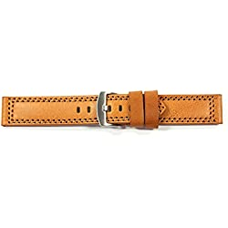 WCC - Durable Calf Leather Watch Strap For Chess - Colour: Light Brown, Width: 28 mm