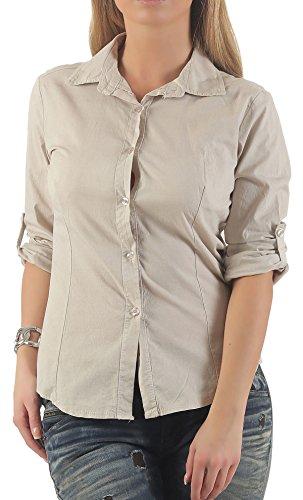 Malito Damen Bluse klassisch | Tunika mit u00be Armen | Blusenshirt auch Langarm tragbar | Elegant - Shirt 8030 (beige, M)