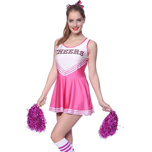 Rosa Cheerleader Kostuem Uniform Cheerleading Cheer Leader mit Pompom Minirock GOGO Damen Maedchen Karneval Fasching (M)