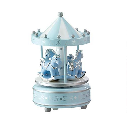 Valenti&Co. Giostrina e Carillon Musicale con Cavalli da Tavolo per Nascita Bambina con Dettagli Argento